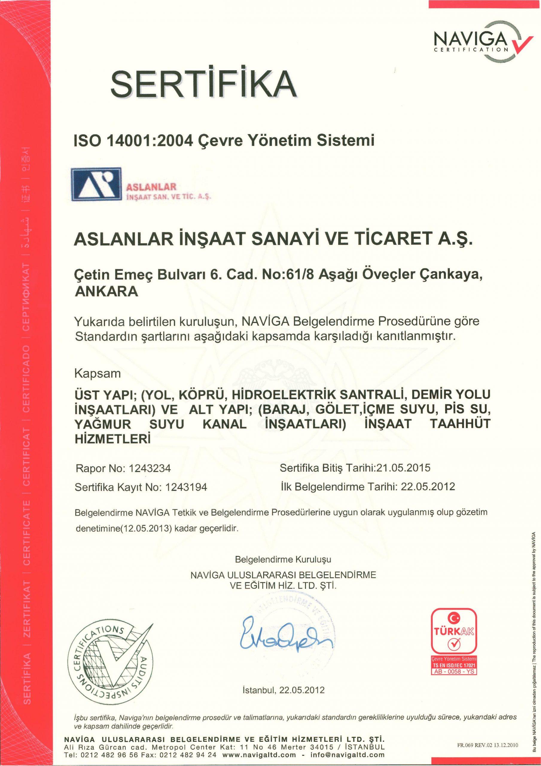 İSO 1401:2004 Çevre Yönetim Sistemi