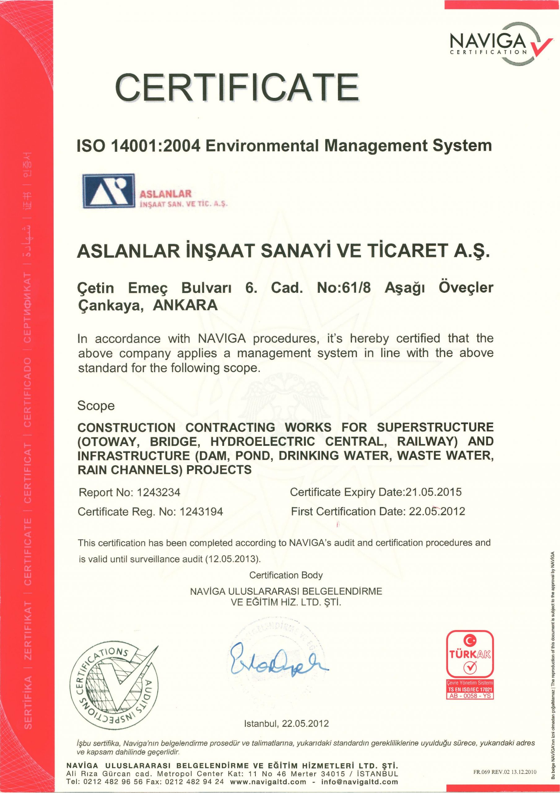 İSO 1401:2004 Environmetal Management System